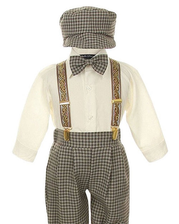 BOYS - Suspender Pant 3 Pc. Set With Hat
