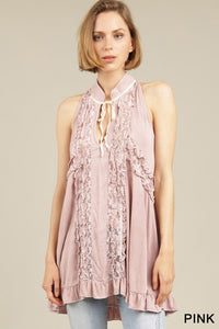 pink - ruffle detailed sleeveless swing top