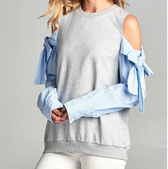Off the Shoulder Tie Sleeve