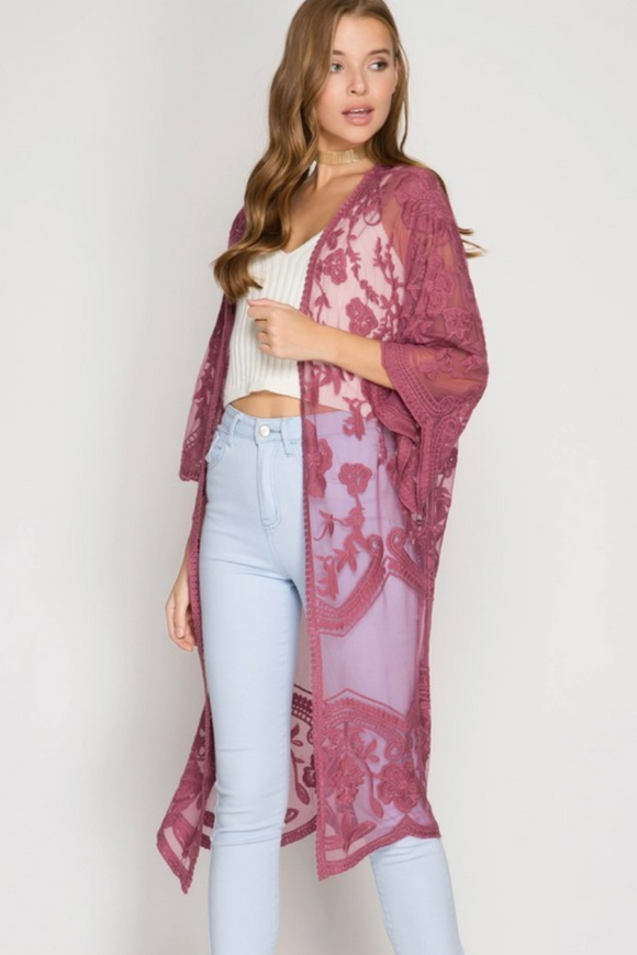 NEW MAUVE LACE MIDI DUSTER CARDIGAN