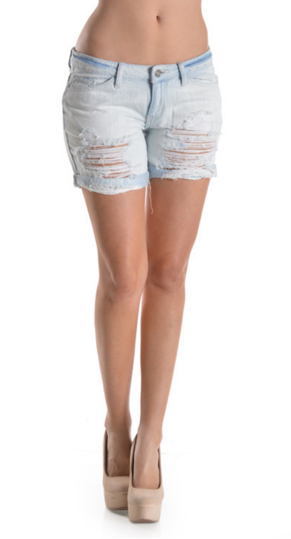 Kancan Lightwash Distressed Short