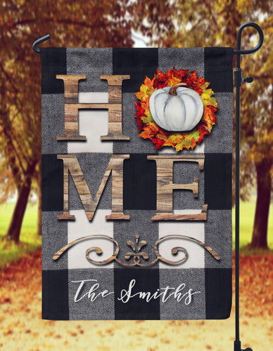 Buffalo Plaid with Pumpkin HOME Fall Garden Flag- Personalized