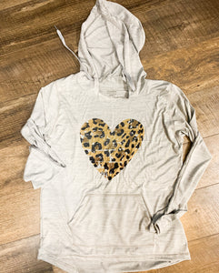 Distressed Leopard Heart Lightweight Hoodie