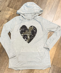 Distressed Camo Heart Lightweight Hoodie