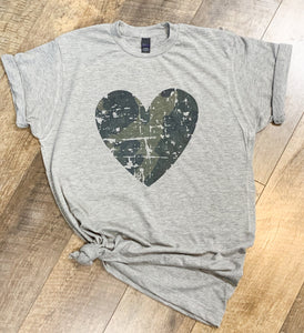 Distressed Camo Heart T-Shirt
