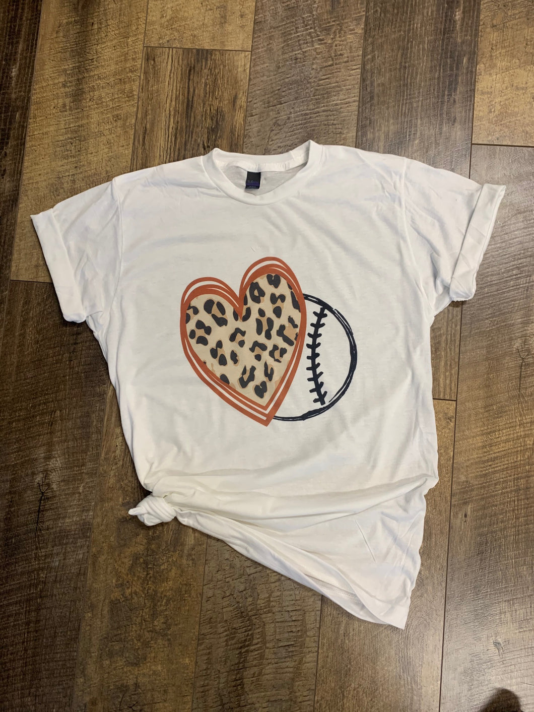 Leopard and Red Baseball Heart - Hand Drawn Permanent Print T-Shirt