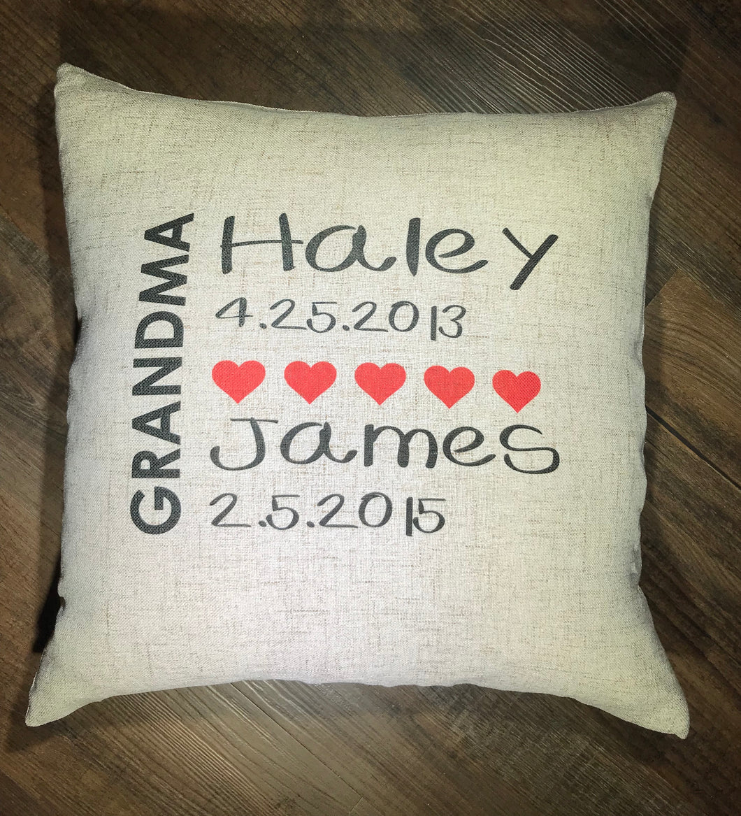 Grandma - Grandkids Faux Burlap Throw Pillow