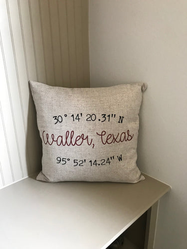 GPS Coordinates - Family Name - Favorite Location Pillow