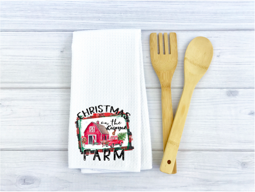 Christmas on the Farm - Personalized Printed Waffle Weave Kitchen Towel