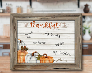 I Am Thankful For...  Dry Erase Board