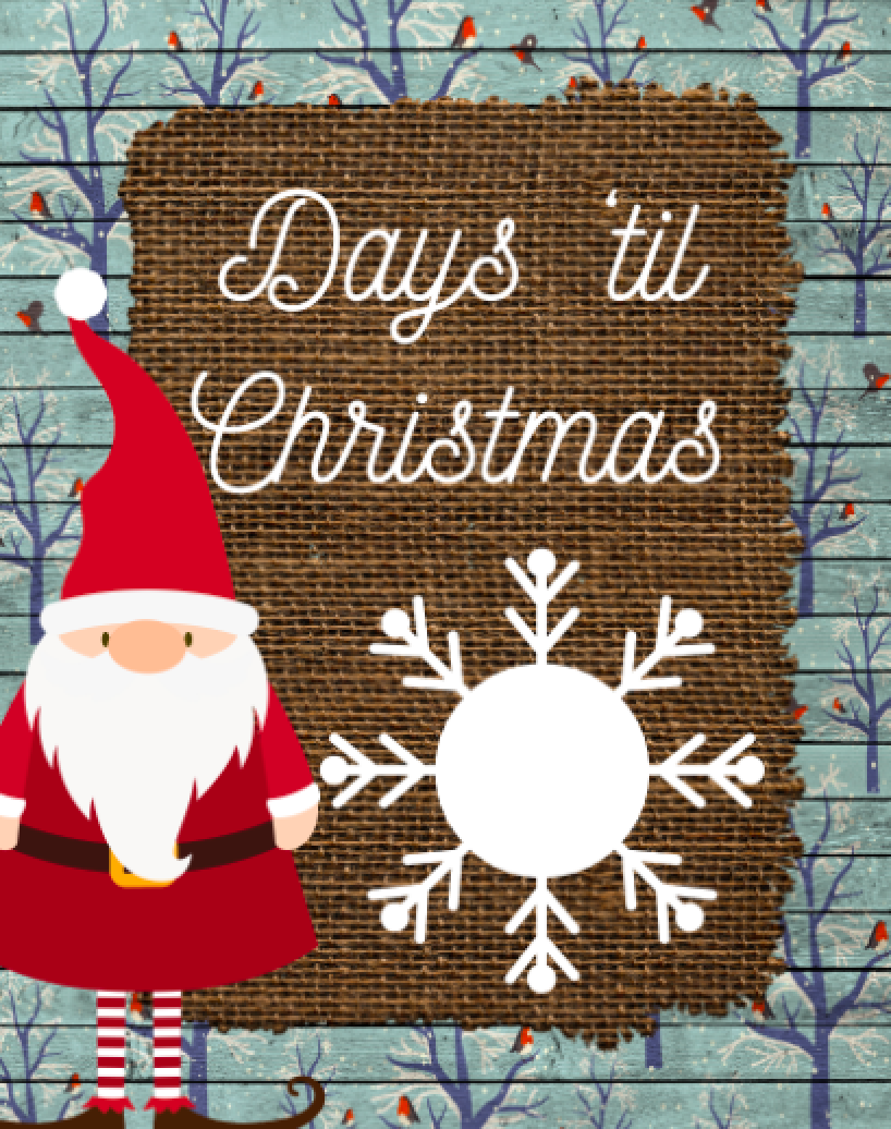 Santa Countdown to Christmas Dry Erase Board