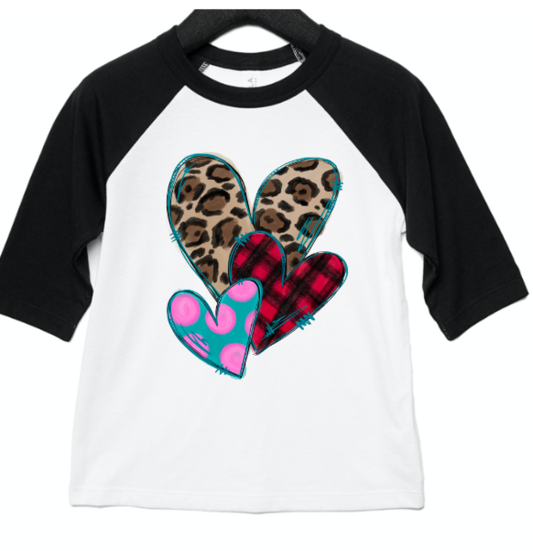 Stacked Hearts - Leopard and Buffalo Plaid Raglan