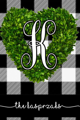 Black & White Plaid Boxwood Wreath - Valentine's Day Garden Flag, Personalized