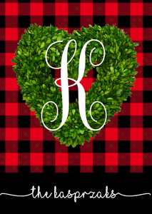 Buffalo Plaid Boxwood Wreath - Valentine's Day Garden Flag, Personalized