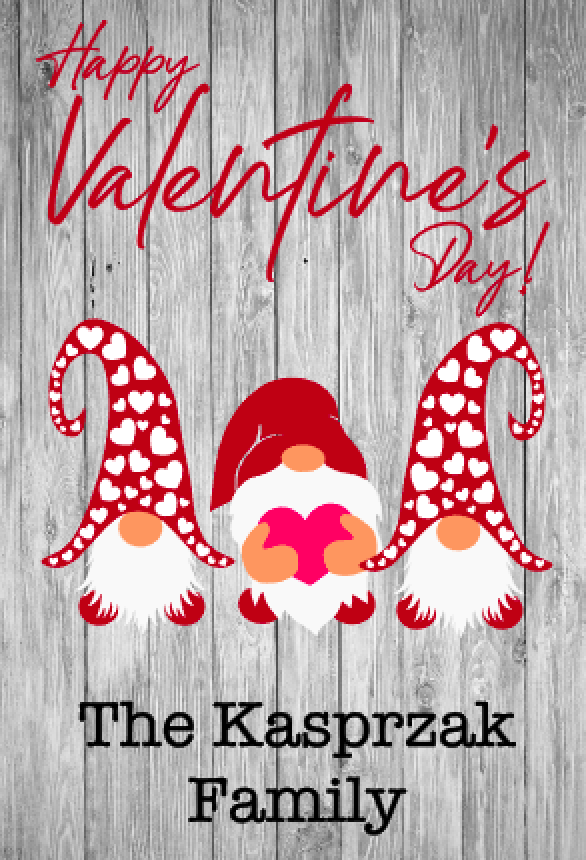 Gnome Hearts - Valentine's Day Garden Flag, Personalized