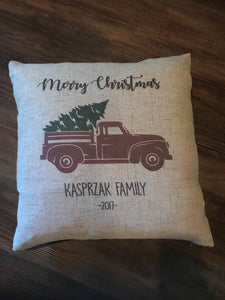 Red Truck Merry Christmas Faux Burlap Throw Pillow