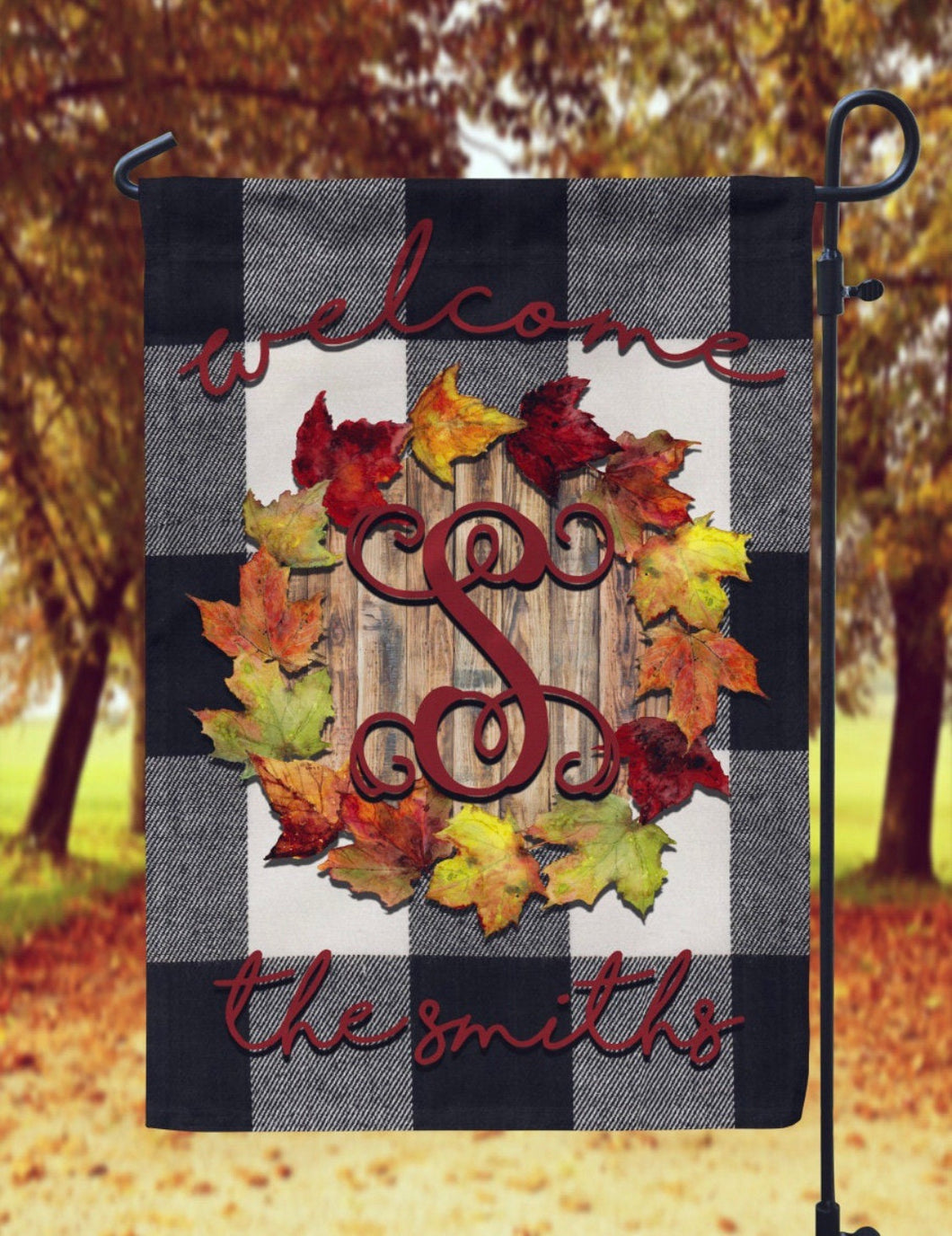 Fall Leaves and Plaid Garden Flag- Personalized