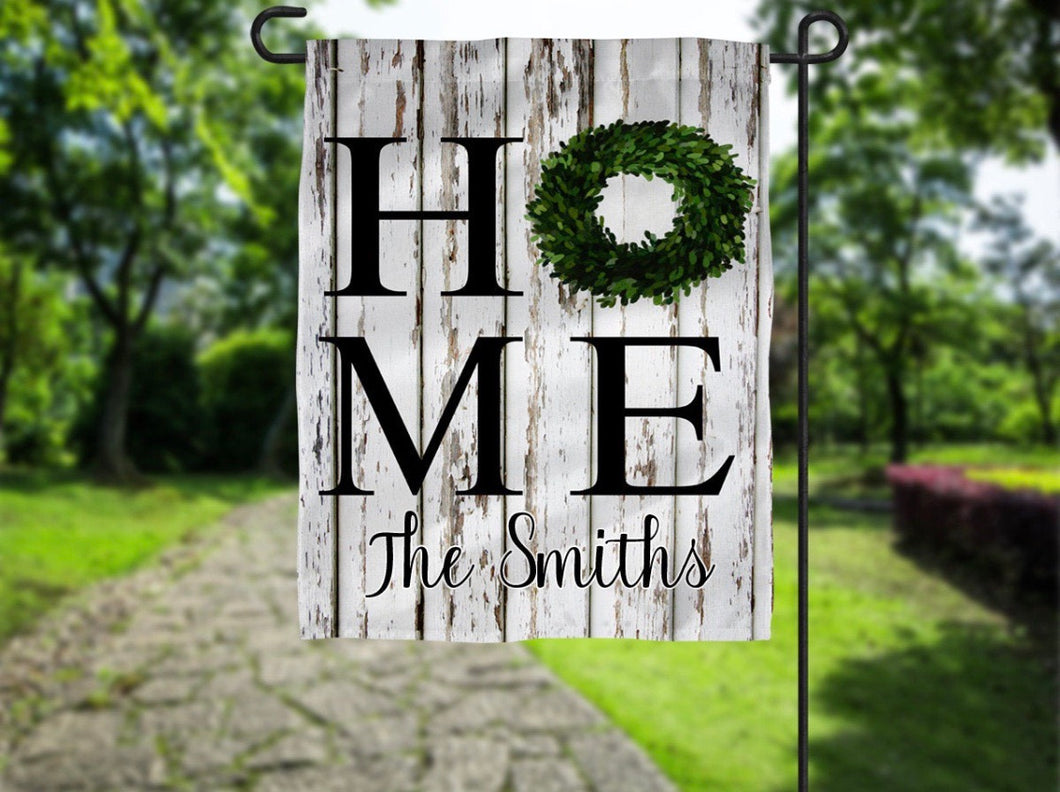 Home Wood Grain Wreath Garden Flag- Personalized