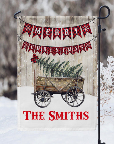 Merry Christmas Snowy Wagon Garden Flag- Personalized