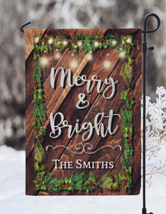Merry and Bright Garland - Personalized Christmas Garden Flag