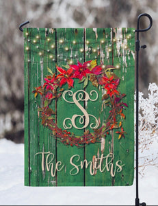 Poinsettia Wreath - Personalized Christmas Garden Flag