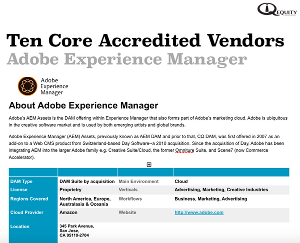 Adobe Experience Manager Digital Asset Management Vendor Report