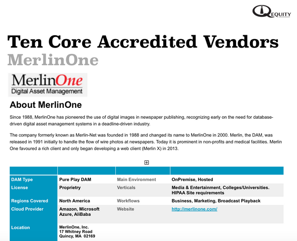 MerlinOne Digital Asset Management Vendor Report