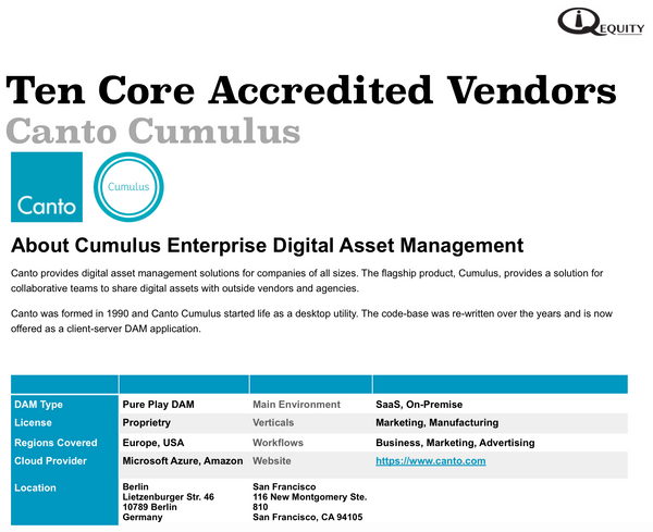 Canto Cumulus Digital Asset Management Vendor Report