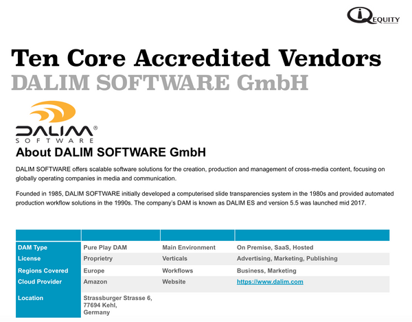 DALIM SOFTWARE GmbH Digital Asset Management Vendor Report