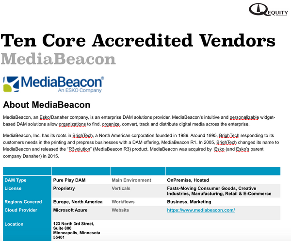MediaBeacon Digital Asset Management Vendor Report