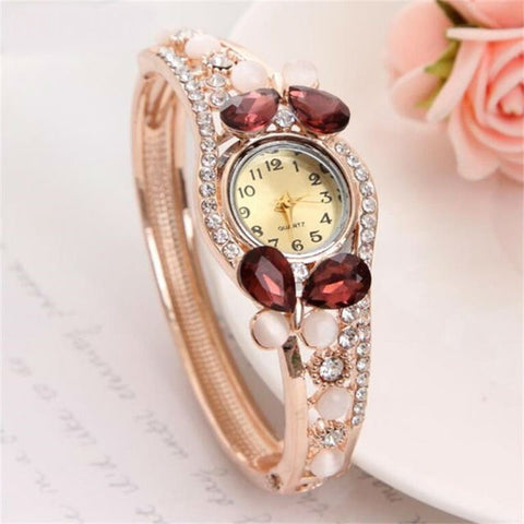 Crystal Butterfly Cuff Watch