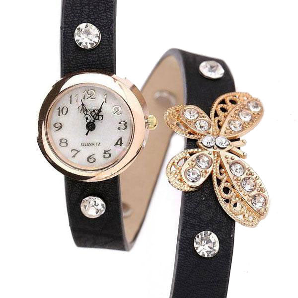 Butterfly Leather strap Bracelet Watch