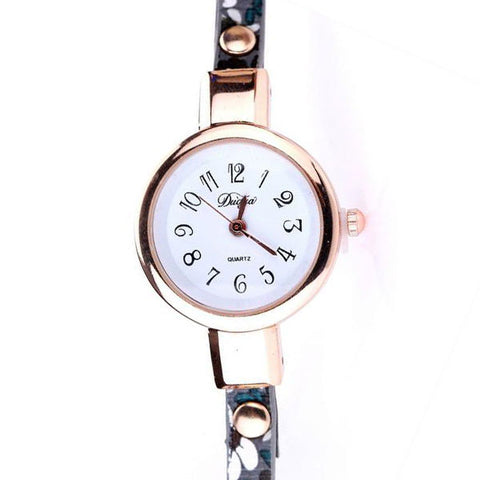 Floral Strap Gold Bracelet Watch