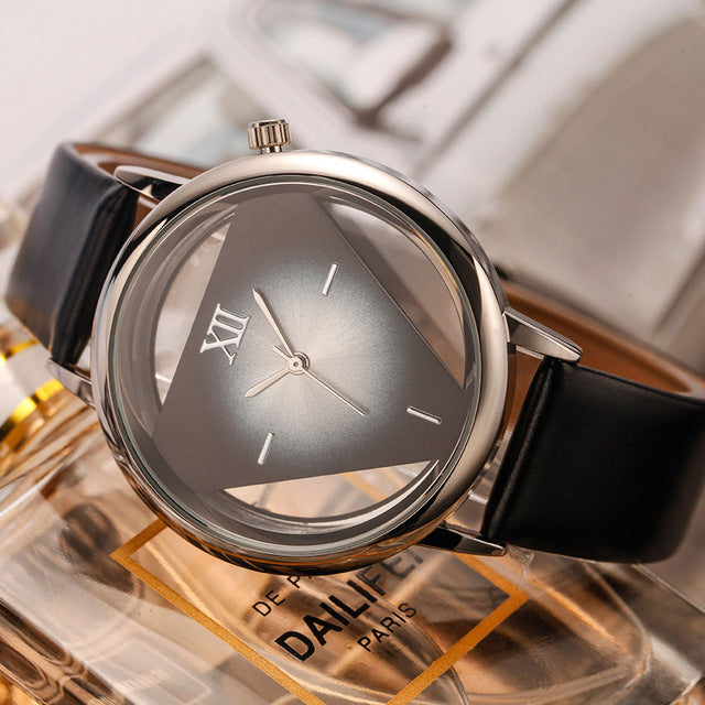 Pyramid Leather Wrist Watch