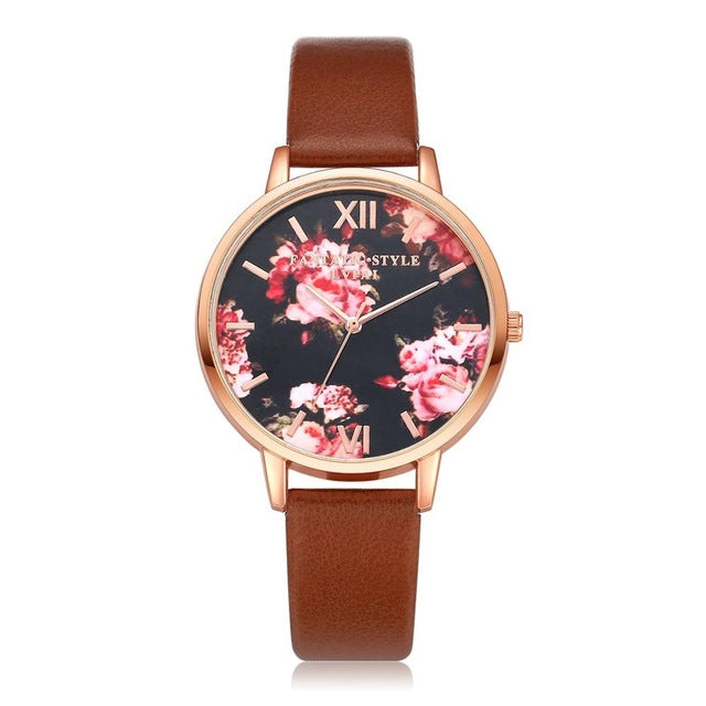 Floral Dial Casual Leather Watch