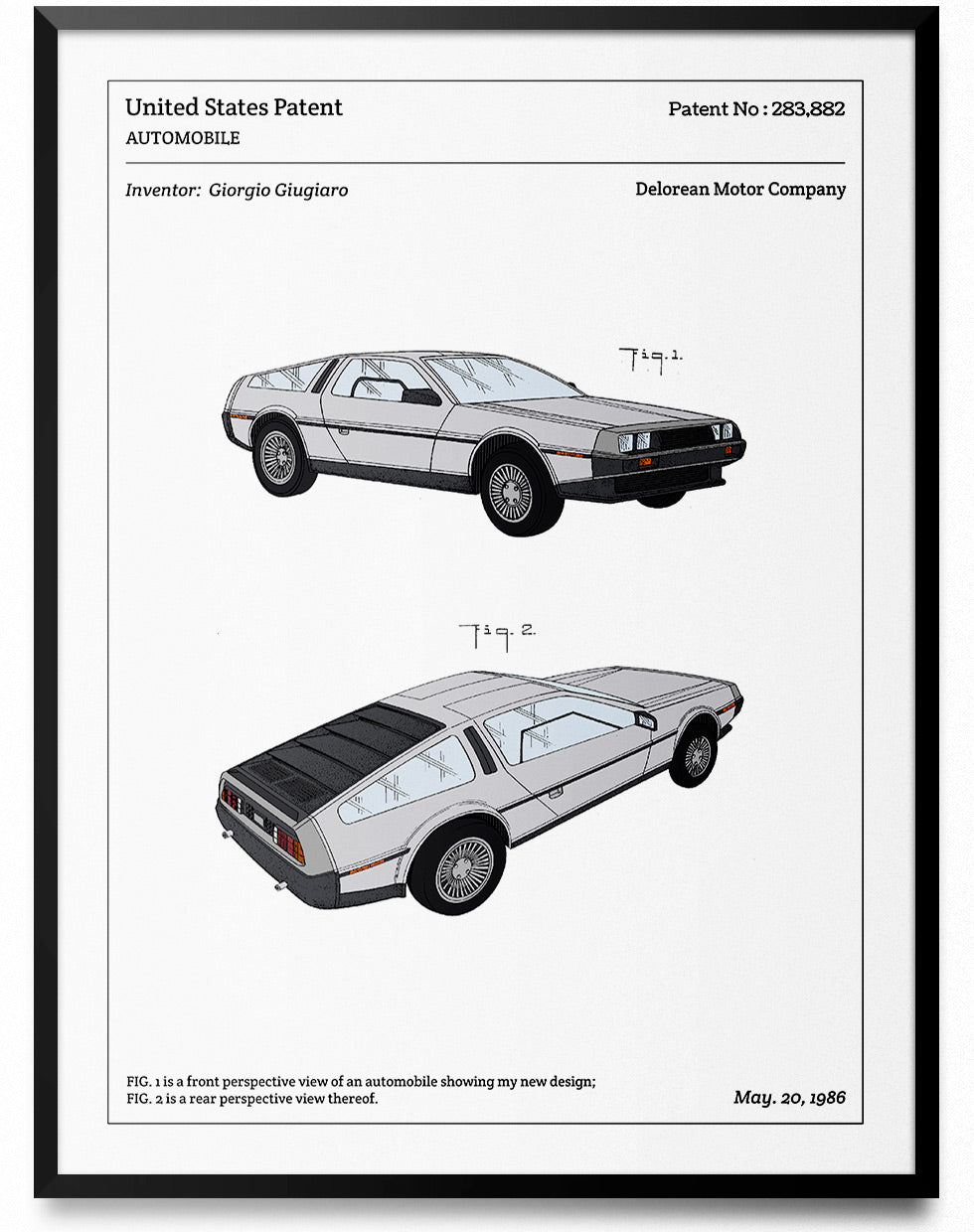 Affiche de brevet - Delorean - L'Affiche Technique