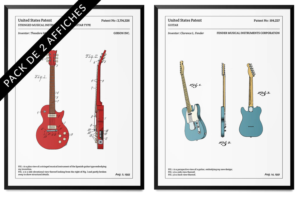 Pack de 2 affiches - Guitares