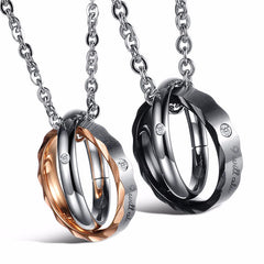 Round Pendant Stainless Steel Couple Necklace