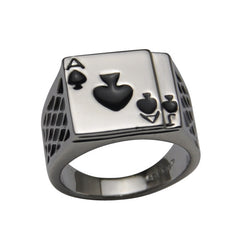 Silver Spades Poker Ring