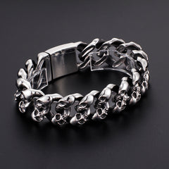 Stainless Steel Chain and Link Skulls Bangle