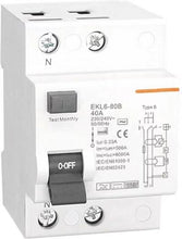 Type B RCD / RCCB 40A for EV Charge Point Installations. 2 pole, single phase, 30ma. 40 Amp