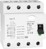 Type B RCD / RCCB 63A for EV Charge Point Installations. 4 pole, 3 phase or single phase, 30ma, EKL1-63