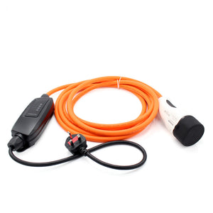 UK 3-pin to Type 2 EV / PHEV Charging Cable. Duosida Portable Home Charger, Portable Granny Cable - 10amp 240v - 5 Meters