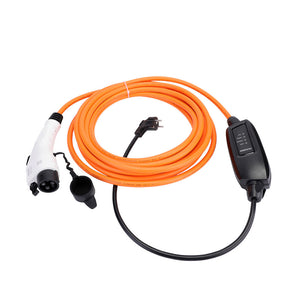 Nissan Leaf (2017 and earlier) / Nissan van eNV200 Home Charging Cable - 16amp, Schuko (EU) to Type 1 in-line portable mains home charger EVSE - 10 meters