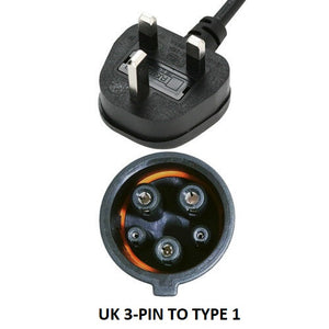 UK 3-pin to Type 1 EV / PHEV Charging Cable, Duosida Portable Home Charger, Granny Cable - 10amp 240v - 15 Meters