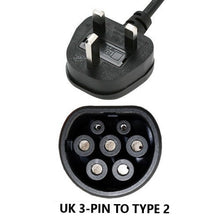 Smart EQ for two / for four Charger, UK to Type 2 Home Charging Cable - 5, 10 or 15 meters