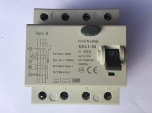 Type B RCD / RCCB 63A for EV Charge Point Installations. 4 pole, 3 phase, 30ma, 63 Amp
