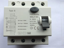 Type B RCD / RCCB 40A for EV Charge Point Installations. 4 pole, 3 phase or single phase, 30ma, EKL1-63