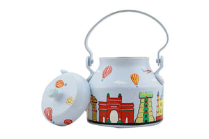 Hand Painted Home Decorative Aluminium Kettle - Lovely Indian Monuments