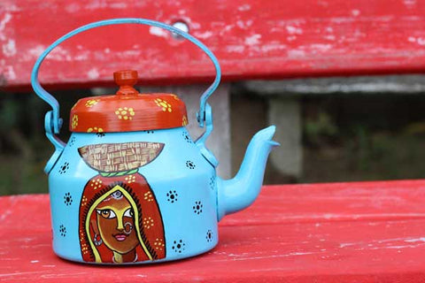 Colorful Hand Painted Aluminum Tea Kettle Pot for Home Usage